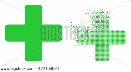 Dispersed Dot Green Cross Vector Icon With Destruction Effect, And Original Vector Image. Pixel Diss