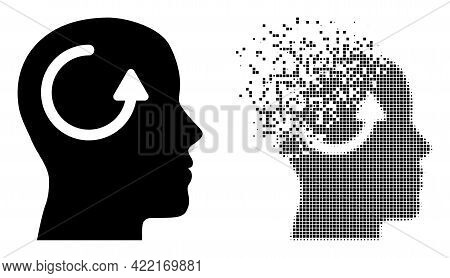 Dispersed Dotted Remember Vector Icon With Destruction Effect, And Original Vector Image. Pixel Diss