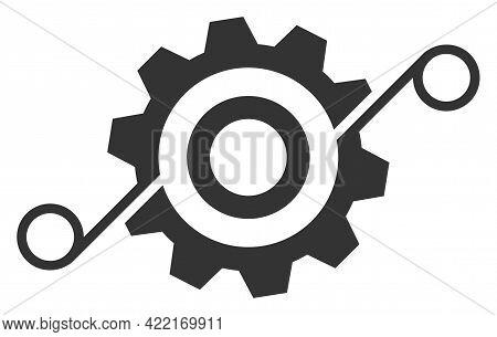 Cog Solution Vector Illustration. A Flat Illustration Design Of Cog Solution Icon On A White Backgro