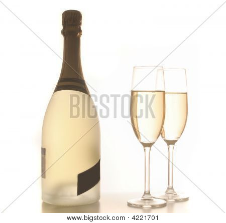Champagne Glasses And Bottle For Celebration
