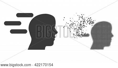 Dispersed Dotted Rush Mind Vector Icon With Destruction Effect, And Original Vector Image. Pixel Dis