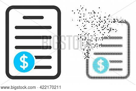 Dispersed Dotted Price List Vector Icon With Wind Effect, And Original Vector Image. Pixel Erosion E