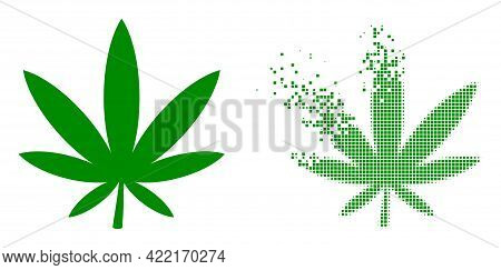 Dispersed Dot Marijuana Vector Icon With Wind Effect, And Original Vector Image. Pixel Dissipating E