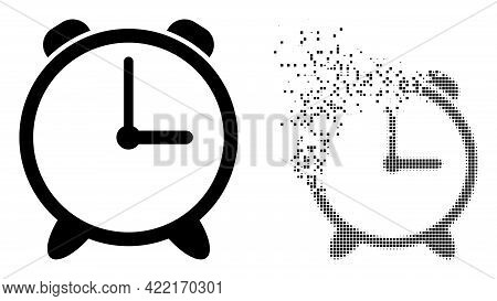 Dissolved Dotted Alarm Clock Vector Icon With Destruction Effect, And Original Vector Image. Pixel D