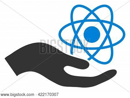 Quantum Service Hand Vector Illustration. A Flat Illustration Design Of Quantum Service Hand Icon On