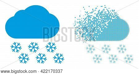 Fractured Dotted Snow Cloud Vector Icon With Destruction Effect, And Original Vector Image. Pixel De