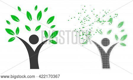 Dispersed Dot Ecology Man Vector Icon With Wind Effect, And Original Vector Image. Pixel Dissipating