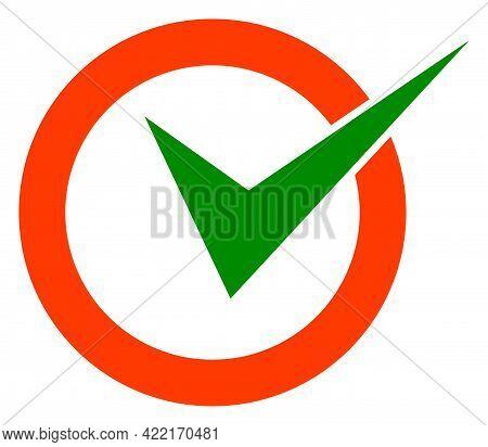 Checkbox Circle Vector Illustration. A Flat Illustration Design Of Checkbox Circle Icon On A White B