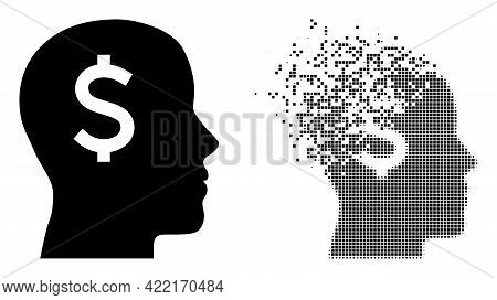 Fractured Pixelated Banker Head Vector Icon With Wind Effect, And Original Vector Image. Pixel Disap