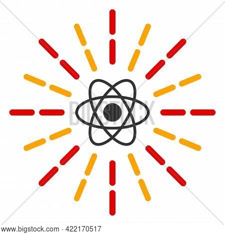Atomic Radiation Vector Illustration. A Flat Illustration Design Of Atomic Radiation Icon On A White