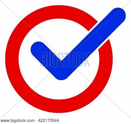 Vote Tick Vector Icon. A Flat Illustration Design Of Vote Tick Icon On A White Background.
