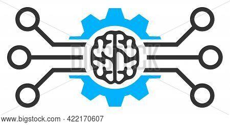Artificial Intellect Vector Icon. A Flat Illustration Design Of Artificial Intellect Icon On A White
