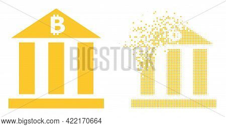 Dissolved Pixelated Bitcoin Bank Vector Icon With Destruction Effect, And Original Vector Image. Pix