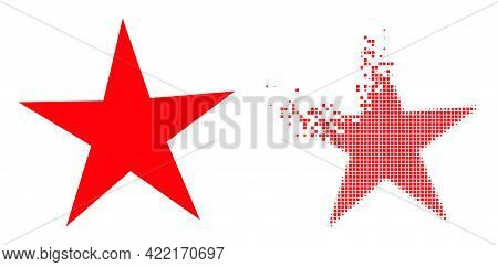 Dissolved Dot Star Vector Icon With Wind Effect, And Original Vector Image. Pixel Transformation Eff