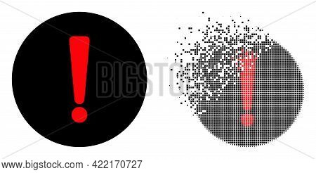 Dispersed Dot Danger Exclamation Vector Icon With Wind Effect, And Original Vector Image. Pixel Dust