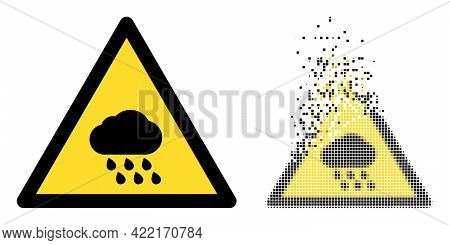 Fractured Dot Rain Warning Vector Icon With Destruction Effect, And Original Vector Image. Pixel Dis