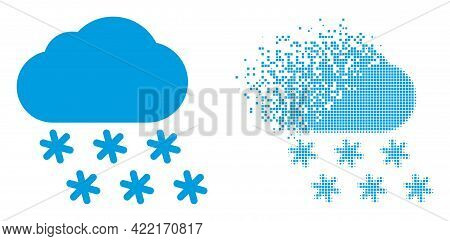 Dispersed Pixelated Snow Weather Vector Icon With Destruction Effect, And Original Vector Image. Pix