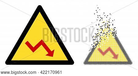 Dispersed Dot Recession Warning Vector Icon With Wind Effect, And Original Vector Image. Pixel Mist