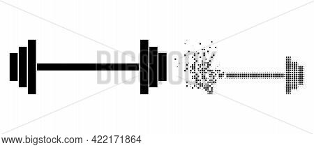 Dispersed Dotted Barbell Vector Icon With Destruction Effect, And Original Vector Image. Pixel Disin