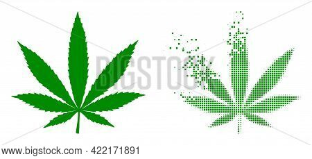 Dispersed Pixelated Cannabis Vector Icon With Wind Effect, And Original Vector Image. Pixel Abrasion