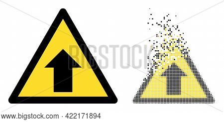 Dissolved Dot Up Direction Warning Vector Icon With Destruction Effect, And Original Vector Image. P