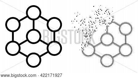 Fractured Pixelated Blockchain Vector Icon With Destruction Effect, And Original Vector Image. Pixel