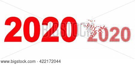 Dispersed Dot 2020 Year Digits Vector Icon With Destruction Effect, And Original Vector Image. Pixel
