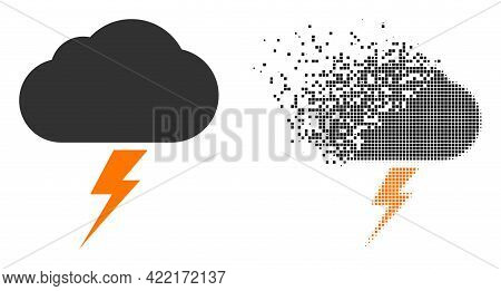 Dispersed Dot Thunderstorm Vector Icon With Wind Effect, And Original Vector Image. Pixel Transforma