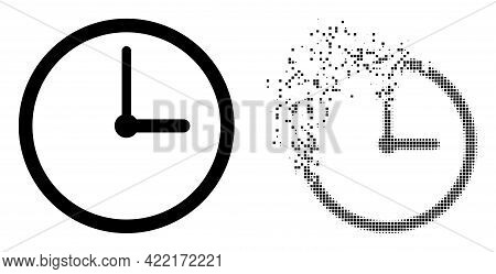 Dissolved Dotted Clock Vector Icon With Wind Effect, And Original Vector Image. Pixel Dissipating Ef