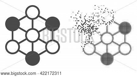 Dispersed Pixelated Blockchain Vector Icon With Destruction Effect, And Original Vector Image. Pixel