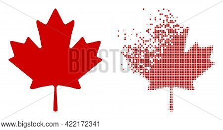 Dispersed Dot Maple Leaf Vector Icon With Destruction Effect, And Original Vector Image. Pixel Demat