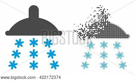 Dispersed Pixelated Snow Shower Vector Icon With Destruction Effect, And Original Vector Image. Pixe