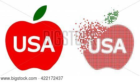 Dispersed Dot American Apple Vector Icon With Wind Effect, And Original Vector Image. Pixel Dissipat