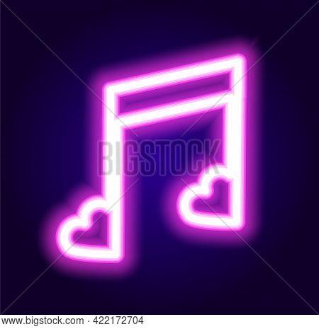 Neon Musical Note Heart For Decoration Design. Romantic Creative Composition. Vector Illustration El