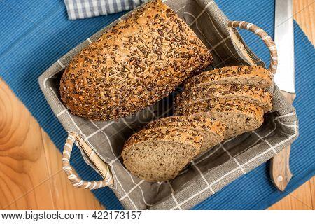 Homemade Sourdough Bread With Sesame Seeds, Pumpkin Seeds, Sunflower Seeds And Flax Seeds With Cut S