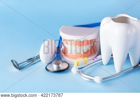 Dental Health And Teethcare Concept. Dental Mirror With Explorer Probe, Toothbrush, Floss, Human Jaw