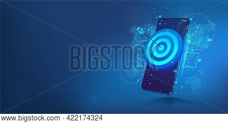 Darts Target On Smartphone Display. The Concept Of Success, Achieving Goals And In The Direction And