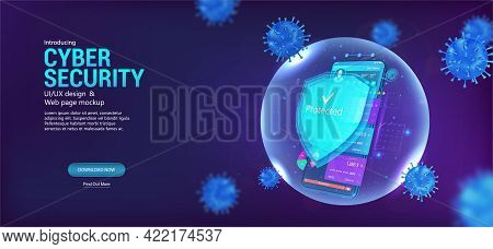 Cyber Security Smartphone. Protection Mobile Phone With Shield Which Protect Against Cyber Attacks,