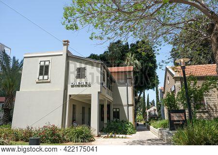 Tel-aviv, Israel - May 03, 2021: Historic Houses In The Restored Historic Sarona Quarter Of Tel Aviv