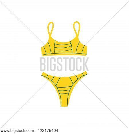 Sports Swimsuit-two-piece. Modern Fashion Stylish Swimsuit. Vector Flat Cartoon Illustration. Bathin