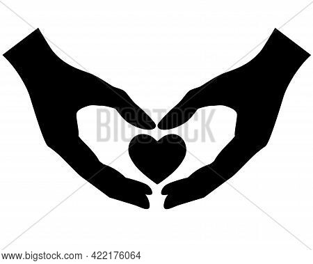 Hands Hold Heart Symbol Vector Black Silhouette For Logo Or Pictogram. Heart In Hands - A Symbol Of