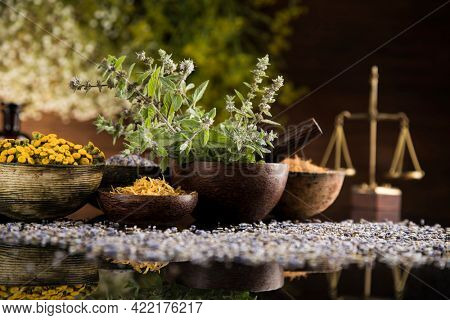 Homeopathy, herbal medicine on wooden table , black mirror background