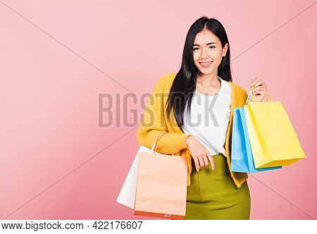 Portrait Of Asian Happy Beautiful Young Woman Teen Shopper Smiling Standing Excited Holding Online S