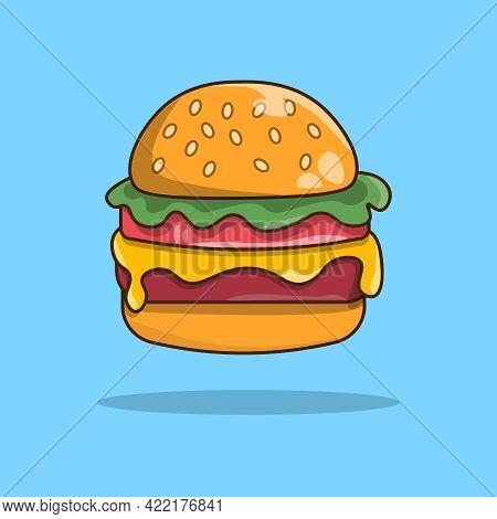 Hamburger Cute Style Illustration. Flat Vector Illustration. Cartoon Style Of Cheeseburger. Food Vec