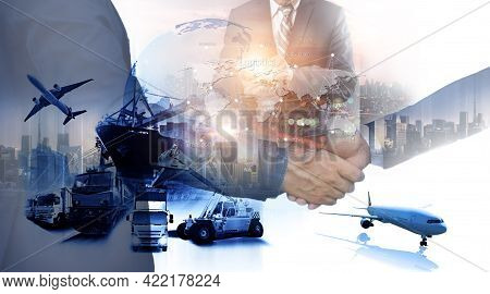 Business People Shaking Hands, Success Business Of Logistics Industrial Container Cargo Freight Ship