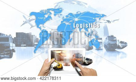 Hand Holding Tablet Is Pressing Button On Touch Screen Interface In Front Logistics Industrial Conta