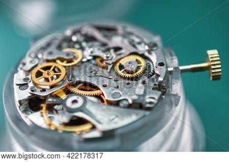 Clock Mechanism Close Up. Mechanical Watch, Internal Structure.