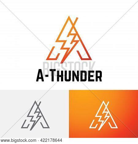 A Letter Thunder Storm Power Energy Electricity Line Logo