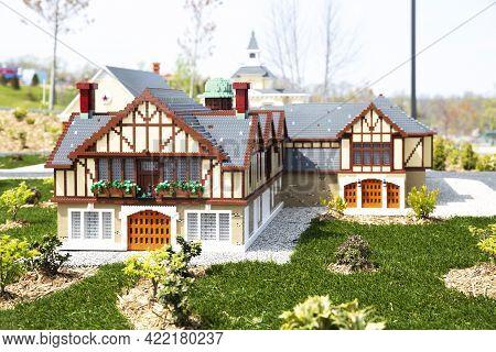 Goshen, Ny - April 24 2021: View Of Ny Landmarks Built Out Of Bricks At Miniland In Legoland New Yor