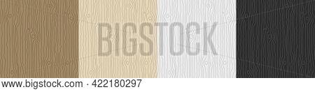 Wooden Pattern. Wood Grain Texture. Dense Lines. Timber Background. Vector Set